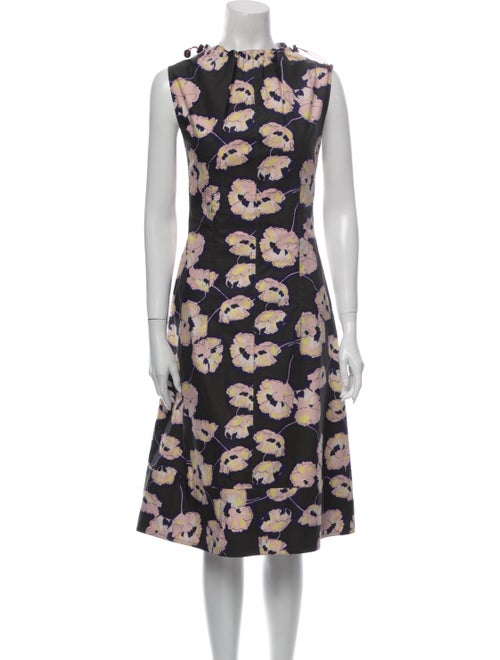 Marni Floral Print Midi Length Dress Green