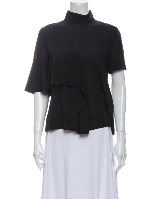 Marni Silk Mock Neck Blouse Black