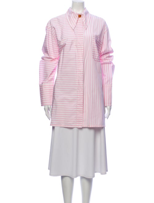 Marni Striped Long Sleeve Button-Up Top Pink
