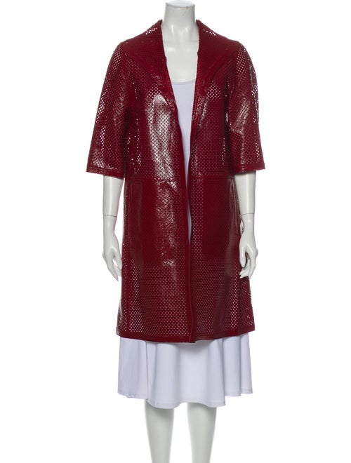 Marni Goat Leather Trench Coat Red