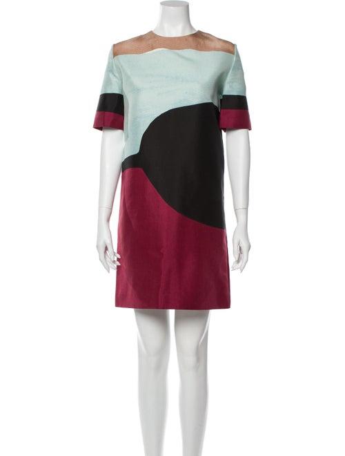 Marni Colorblock Pattern Mini Dress Blue