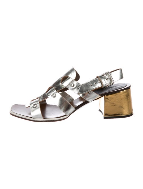 Marni Leather Slingback Sandals Metallic