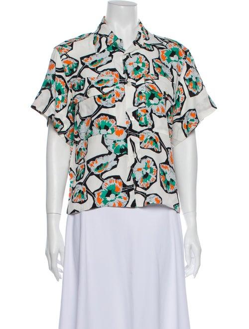 Marni Printed Short Sleeve Blouse White