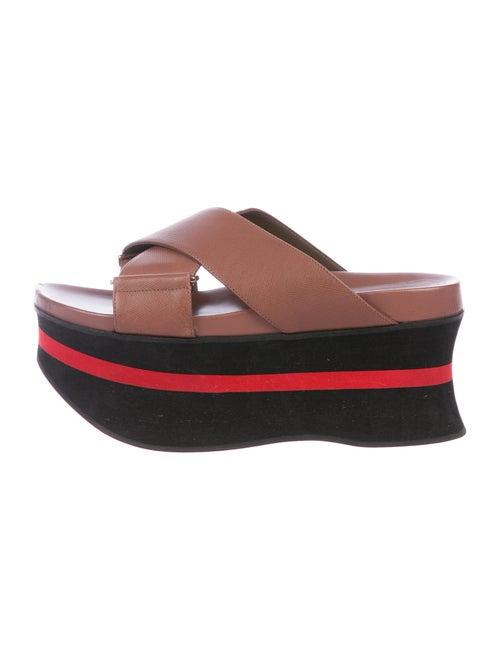 Marni Leather Slides Brown