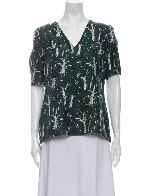 Marni Silk Printed Blouse Green