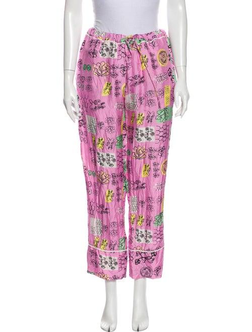 Marni Silk Floral Print Pajamas Pink