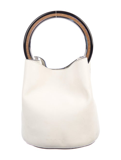 Marni Leather Pannier Bucket Bag Silver