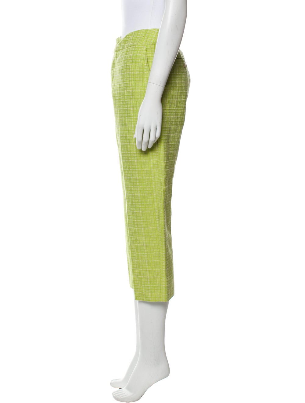 Marni Plaid Print Straight Leg Pants Green - image 2