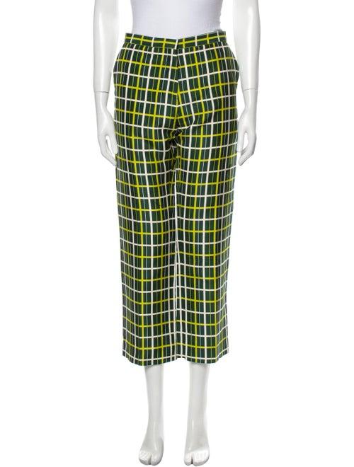 Marni Plaid Print Straight Leg Pants Green - image 1