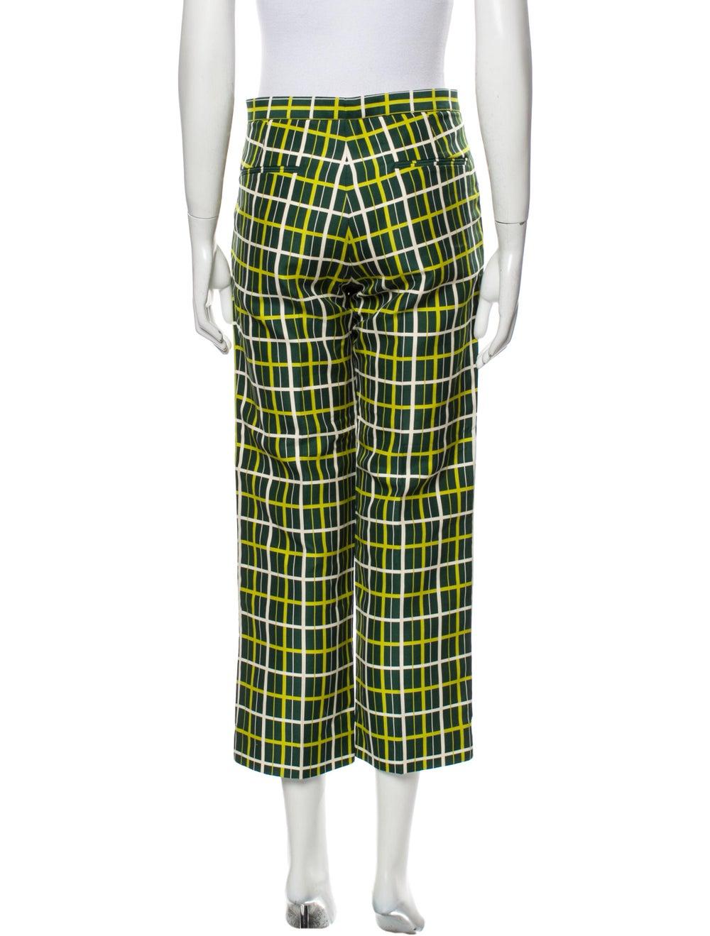 Marni Plaid Print Straight Leg Pants Green - image 3