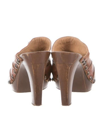 Leather Peep-Toe Clogs