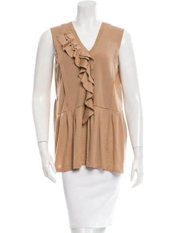 Marni Cashmere Ruffle-Paneled Top None