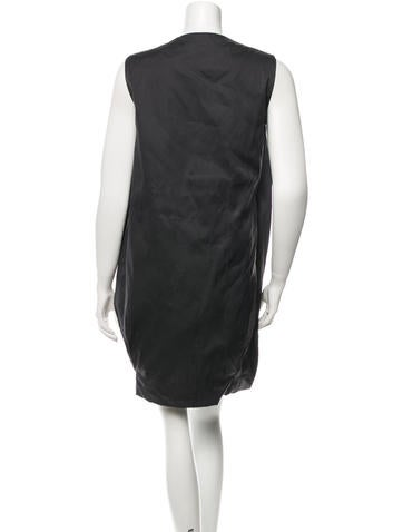 Bow-Accented Silk Sleeveless Dress