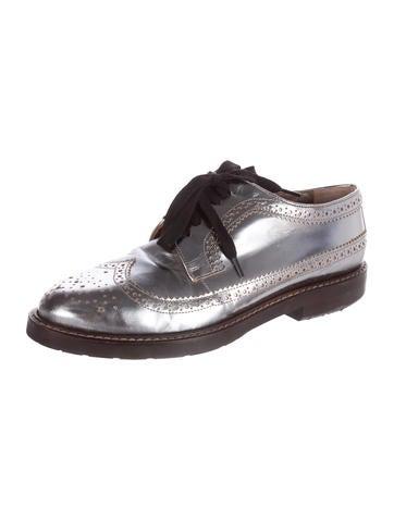Leather Metallic Oxfords