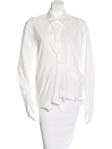 Marni Ruffle-Trimmed Button-Up Top None