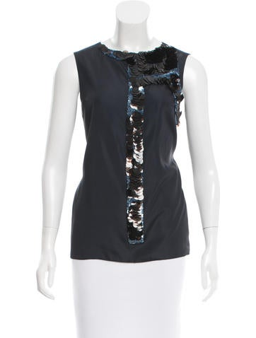 Marni Sequin-Embellished Satin Top None
