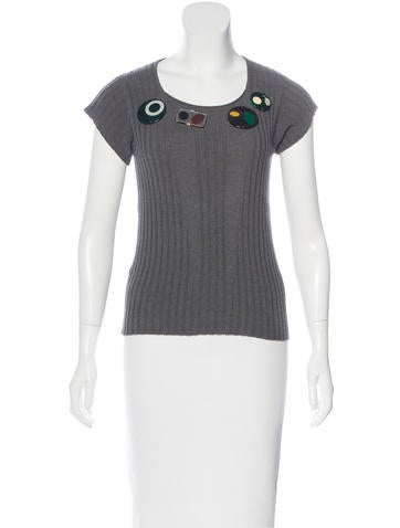 Embellished Short Sleeve Sweater