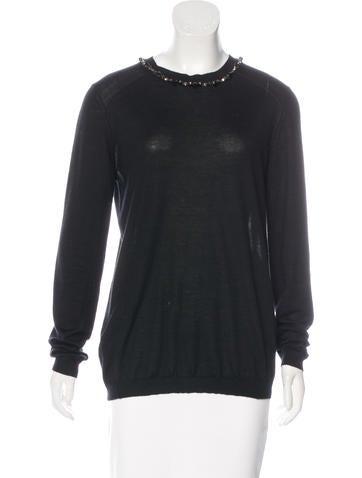 Marni Embellished Cashmere Sweater None