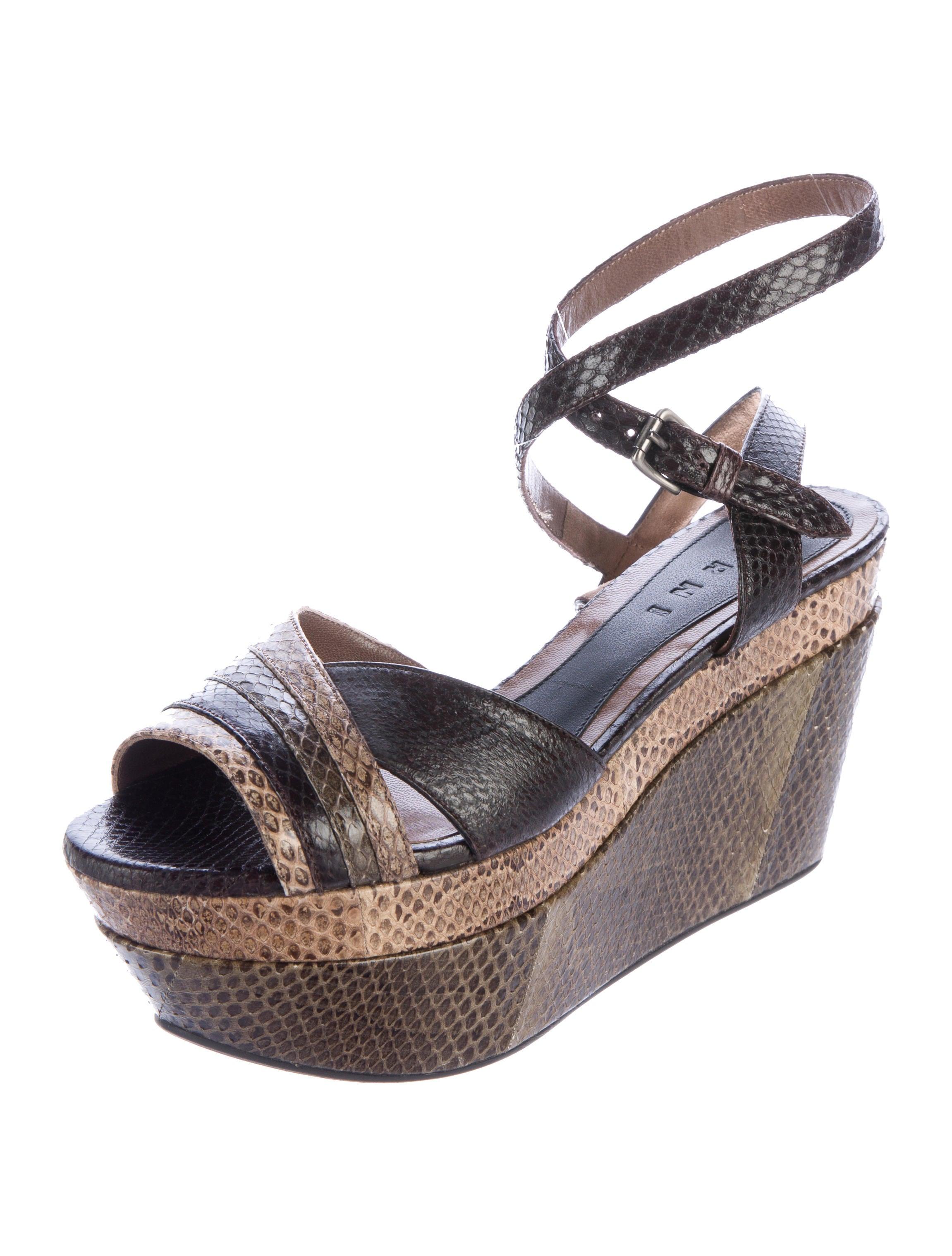 marni snakeskin platform wedge sandals shoes man57013