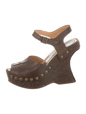 Marni Leather Platform Wedges None