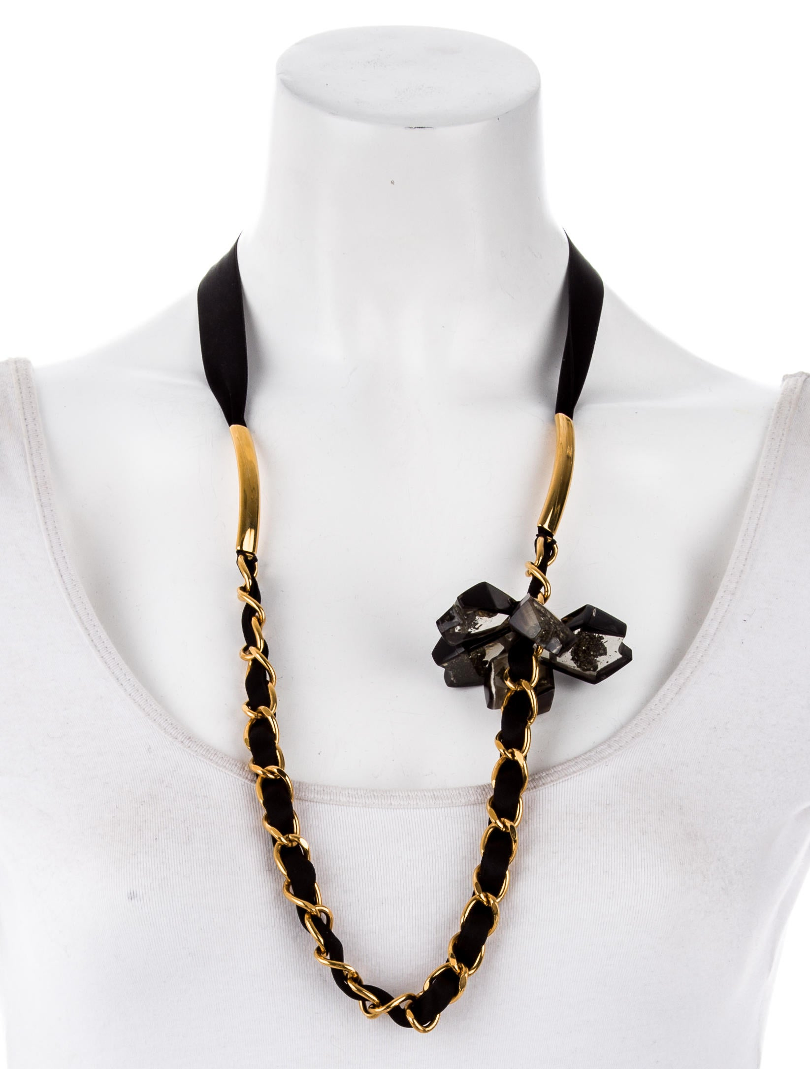 Marni pyrite horn resin ribbon necklace necklaces for Ribbon tie necklace jewelry