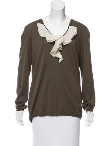 Marni Ruffled V-Neck Sweater None
