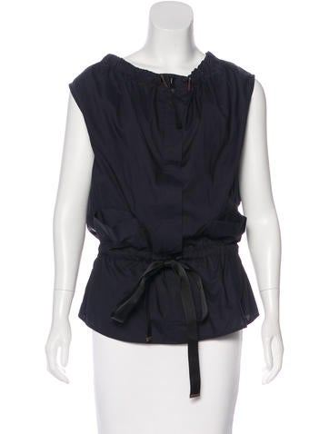 Marni Sleeveless Leather-Trimmed Top None