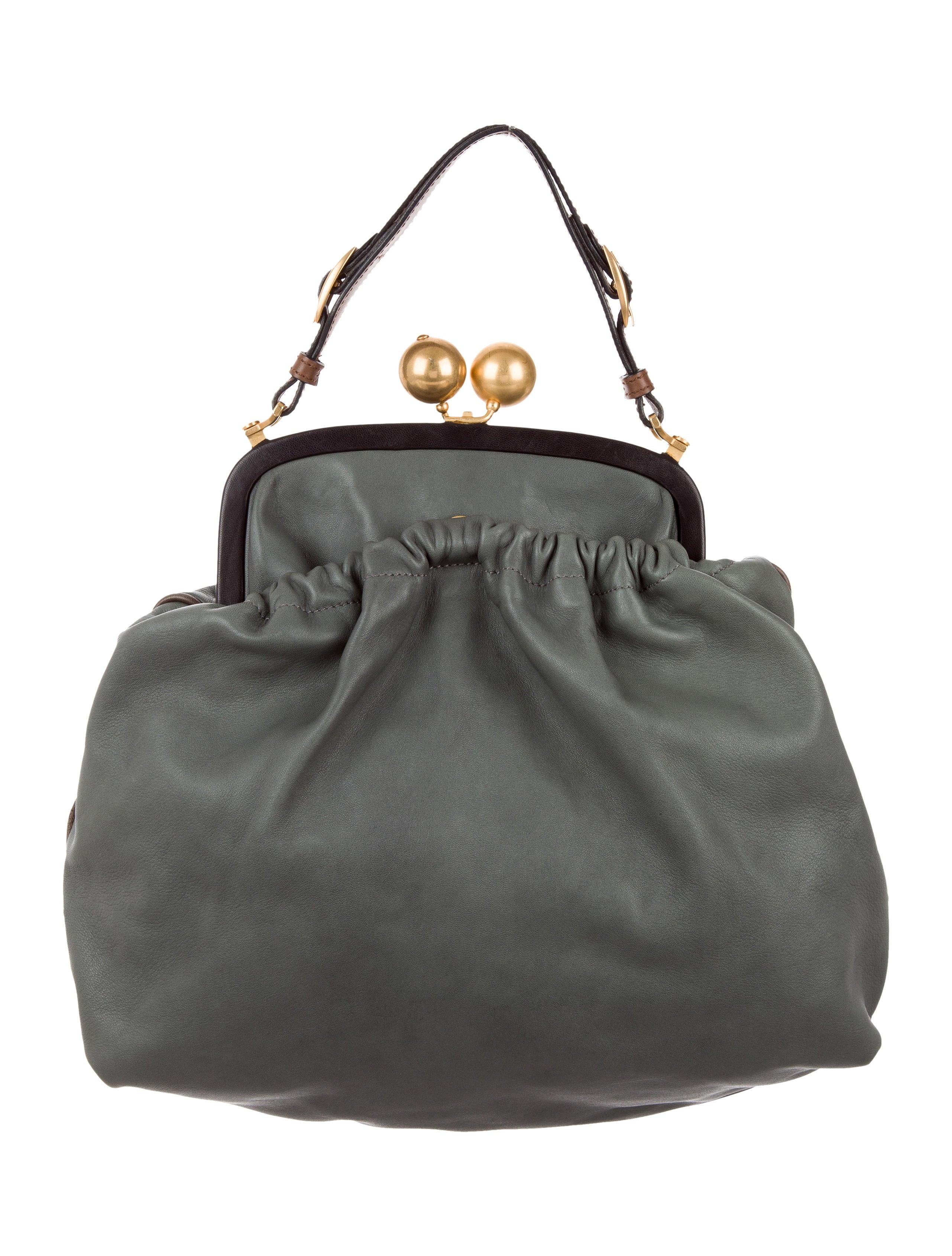 Marni Leather Kiss Lock Frame Bag Handbags Man59909