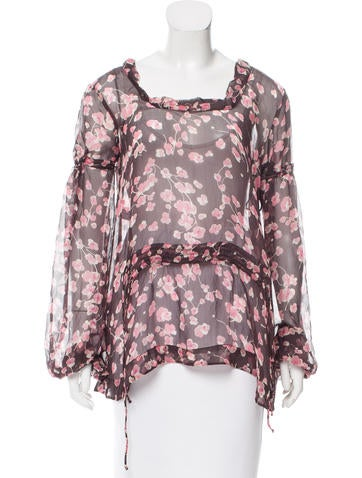Marni Silk Floral Print Top None