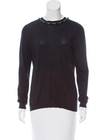 Marni Embellished Cashmere Sweater None
