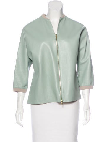 Marni Rib Knit-Trimmed Leather Jacket None