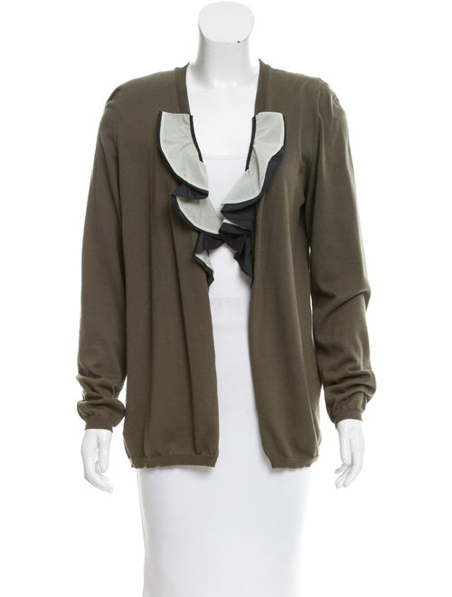 Marni Ruffle-Trimmed Long Sleeve Cardigan Olive
