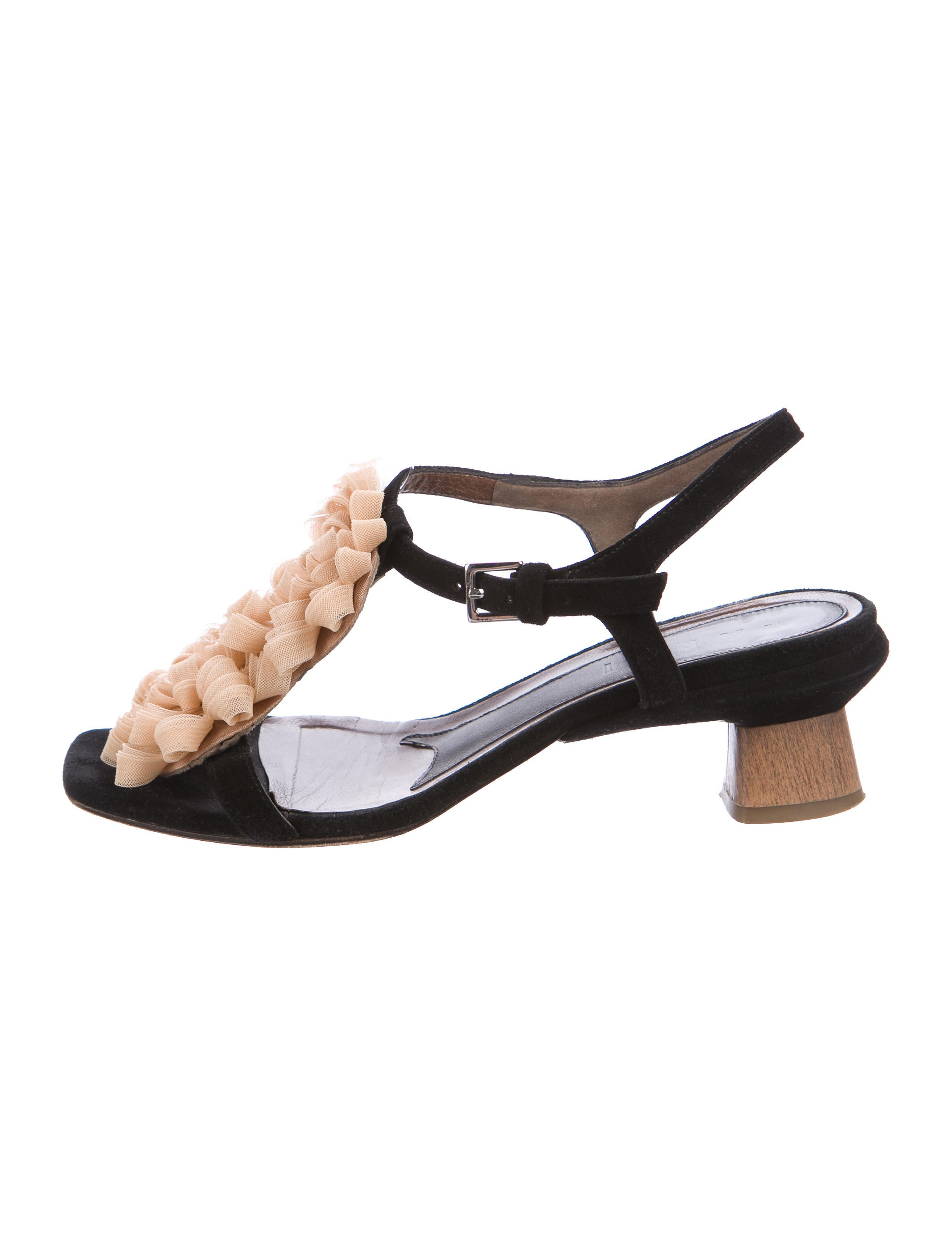 Marni Ruffle-Accented Suede Sandals low shipping fee cheap online 1OraSsvGiS