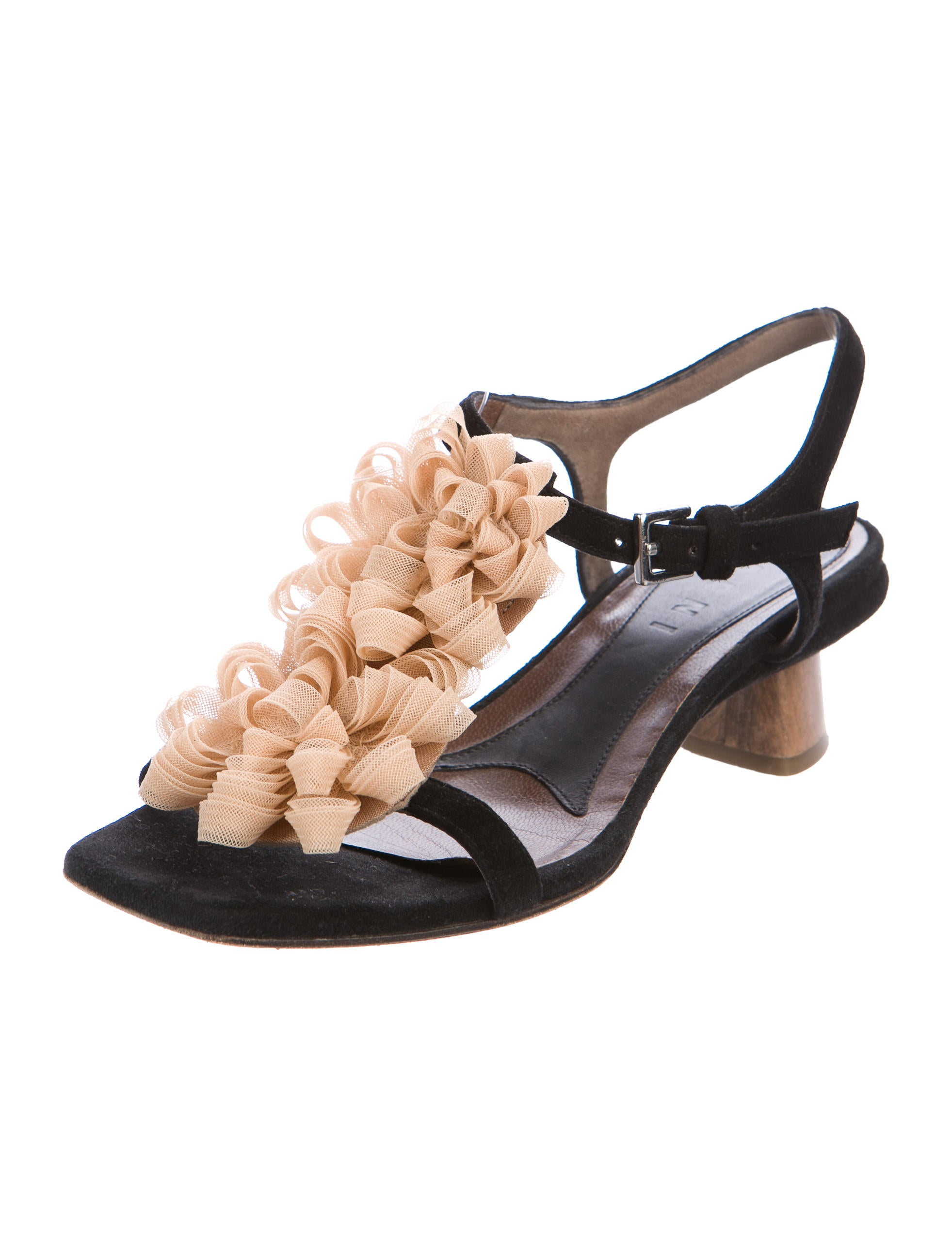 Marni Ruffle-Accented Suede Sandals 2014 new cheap online discount pick a best sb0PZLULCl