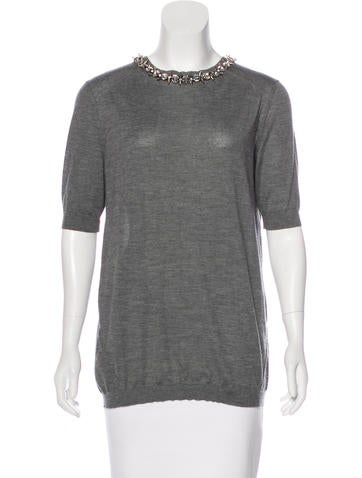 Marni Embellished Cashmere Top None