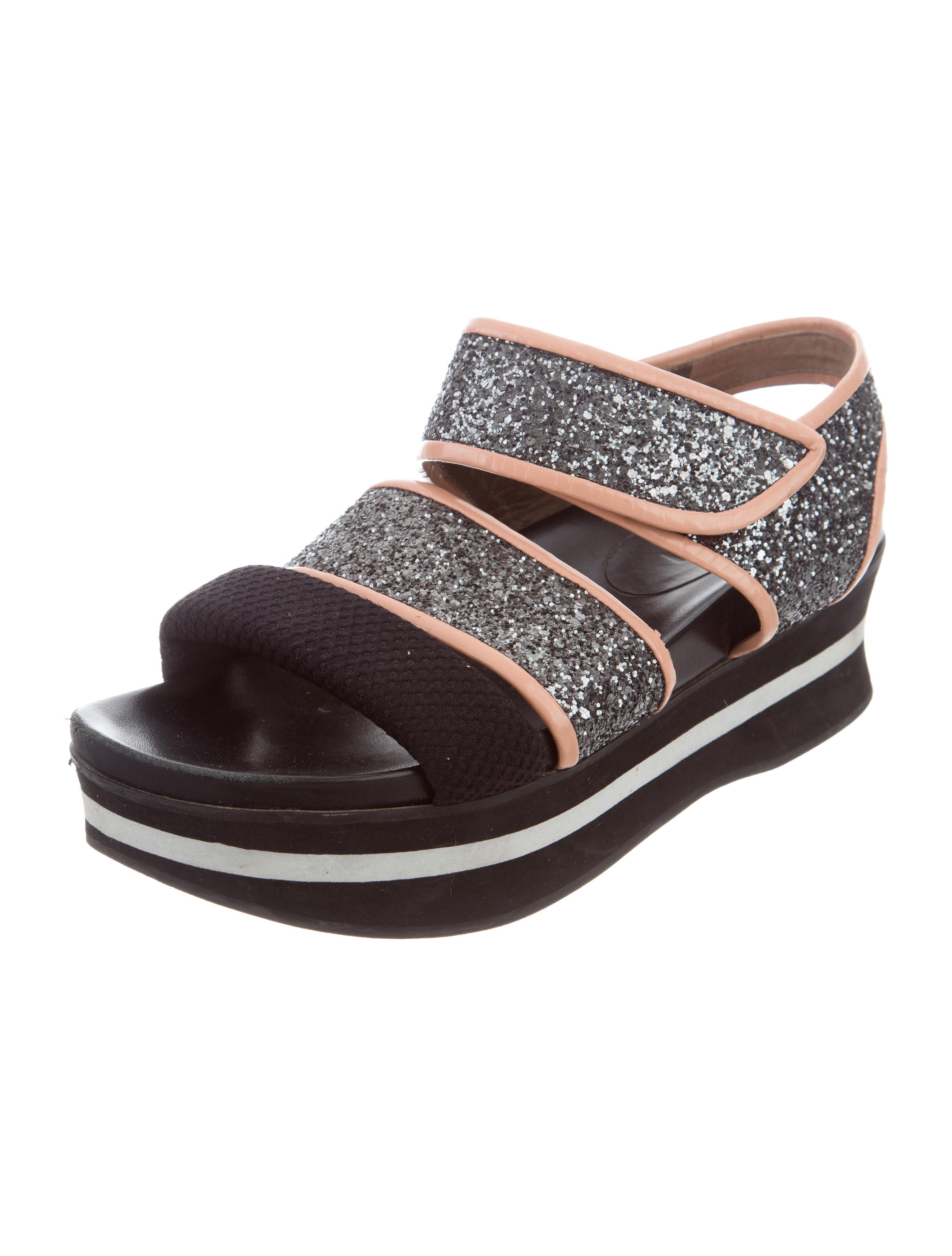 buy cheap footaction cheap sale latest collections Marni Glitter Patent Leather-Trimmed Sandals clearance 2014 newest visit new styles cheap online PbVUyOH