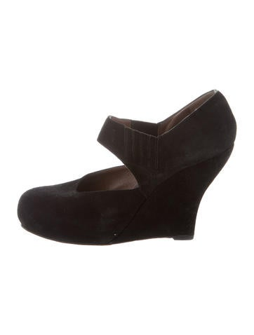 Marni Suede Round-Toe Wedges None