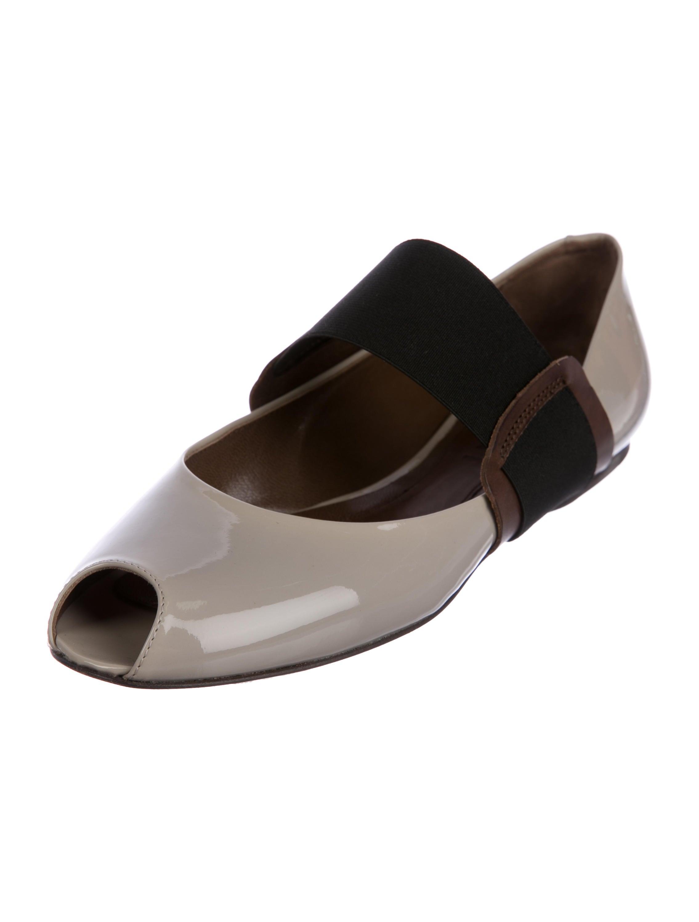 Marni Patent Leather Peep-Toe Flats Inexpensive online Fwu5vmbR