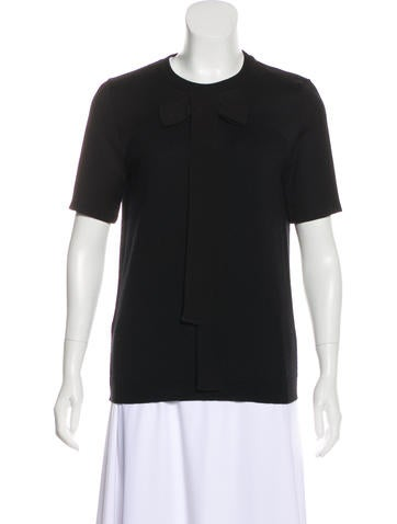Marni Bow-Accented Short Sleeve Top None