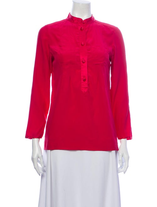 Marc Jacobs Silk Mock Neck Blouse Pink