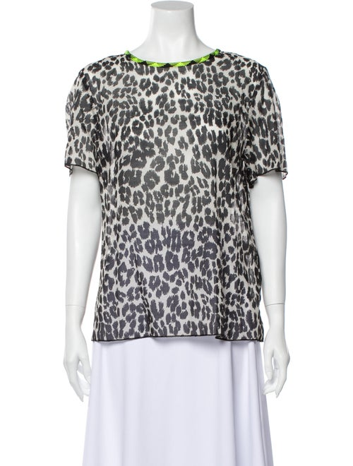 Marc Jacobs Animal Print Scoop Neck T-Shirt Grey