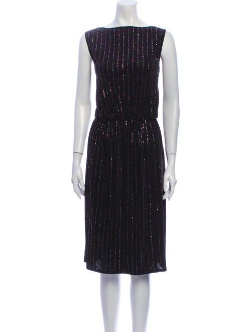 Marc Jacobs Striped Knee-Length Dress Black