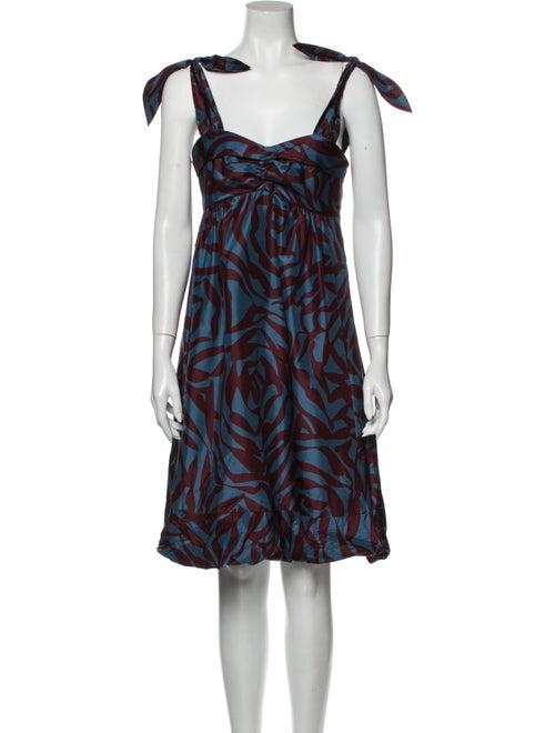 Marc Jacobs Silk Knee-Length Dress Blue