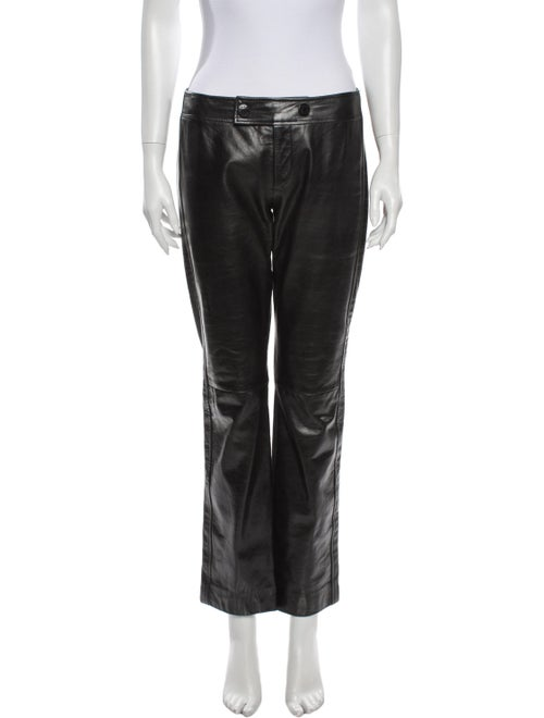Marc Jacobs Leather Straight Leg Pants Black