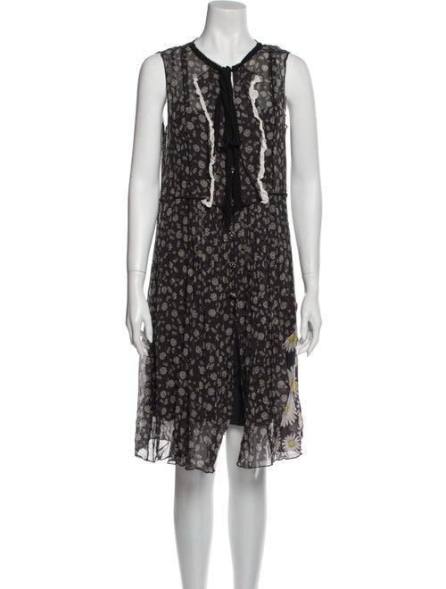 Marc Jacobs Floral Print Knee-Length Dress Black