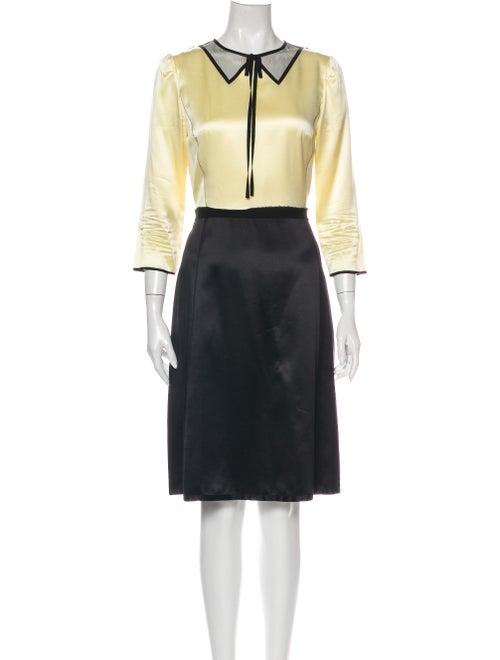 Marc Jacobs Silk Knee-Length Dress Yellow