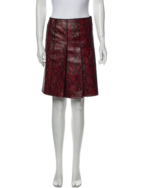 Marc Jacobs Calf Leather Knee-Length Skirt Red