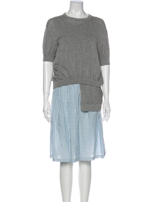 Marc Jacobs Plaid Print Knee-Length Dress Grey