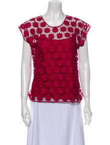 Marc Jacobs Lace Pattern Scoop Neck Blouse