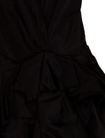 Silk Mesh-Trimmed Dress